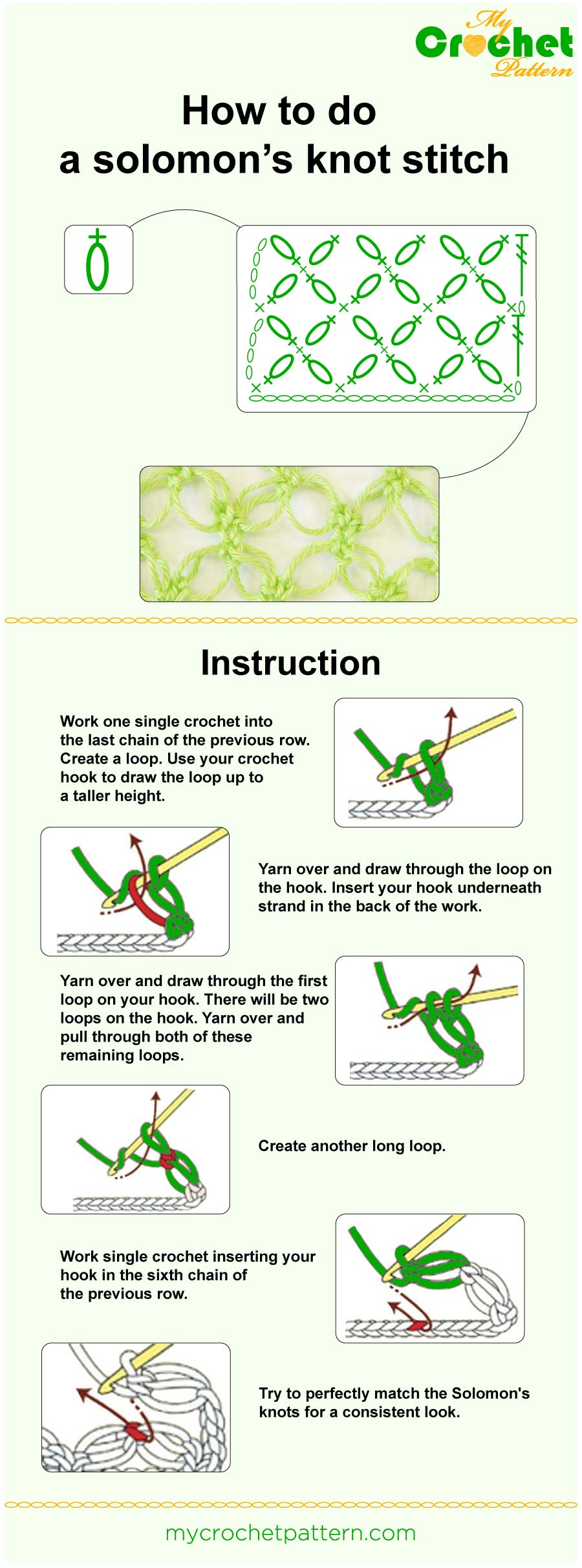 how to do a solomon's knot stitch - infographic