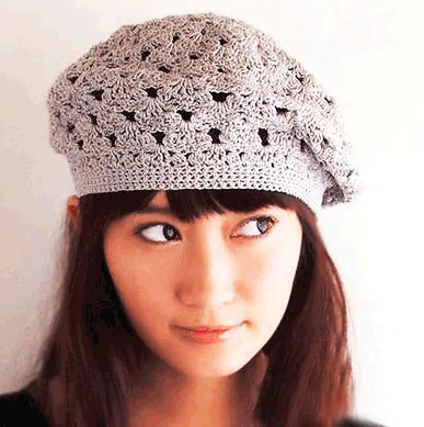 lace crochet beret pattern - photo