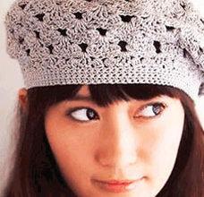 lace crochet beret pattern - preview