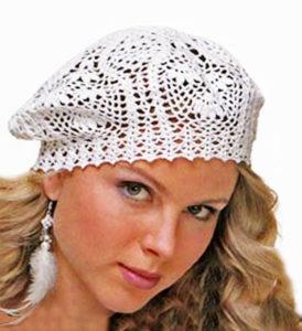white crochet beret pattern - photo