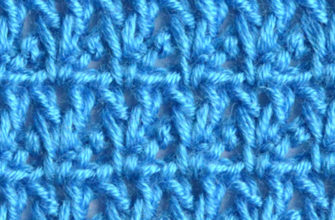 blue V-stitch lace crochet pattern - preview