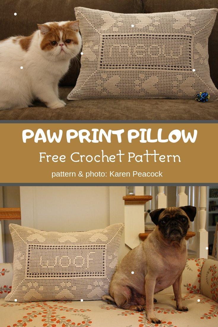 paw print pillow