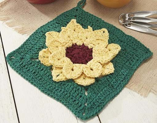 sunflower dishcloth photo
