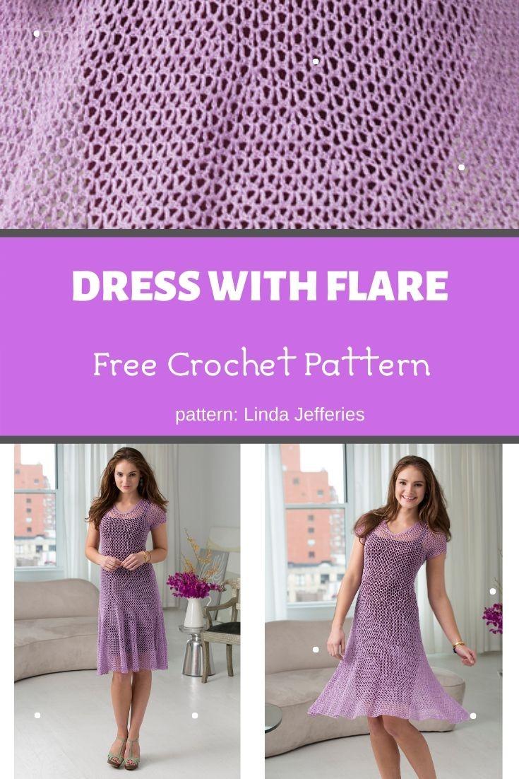 Dress With Flare Crochet Pattern ️ Mycrochetpattern