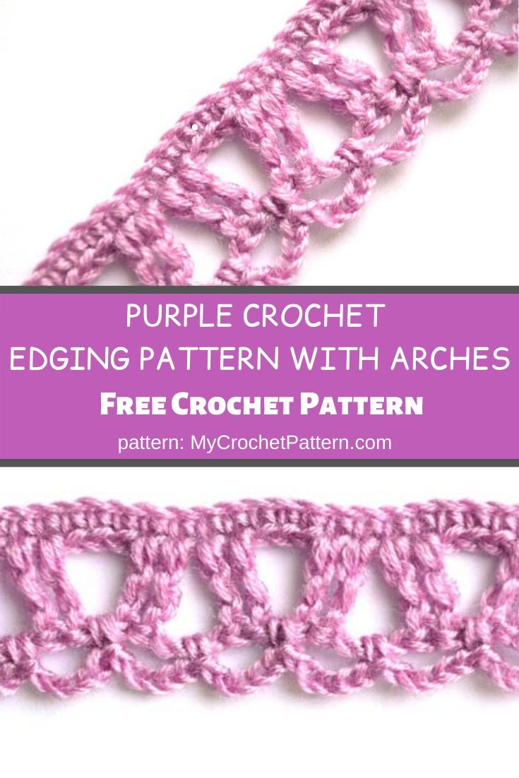 Purple crochet edging pattern with arches