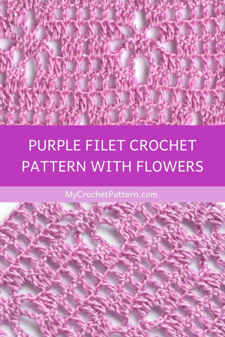 purple filet crochet pattern with flowers